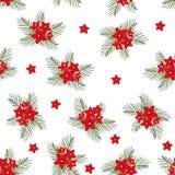 Cypress vine Flower on Christmas White Background. Vector Illustration.  stock illustration