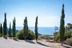 Cypresses overlooking Aegean Sea. Rhodes. Greece.  royalty free stock photos