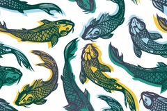 Cyprinus carpio haematopterus. Seamless pattern with koi carp fish. Pond. Background in the Chinese style. Hand drawn. Vector illustration Royalty Free Stock Image