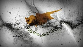 Cyprus grunge dirty flag waving on wind. Cypriot background fullscreen grease flag blowing on wind. Realistic filth fabric texture on windy day Royalty Free Stock Images
