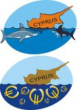 Sinking cyprus and sharks and euro Royalty Free Stock Images