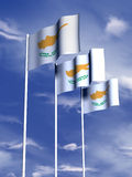 Cypriot flag. The flag of Cyprus flying under a blue sky vector illustration