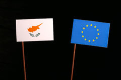 Cypriot flag with European Union EU flag isolated on black Royalty Free Stock Photography
