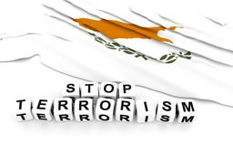 Cypriot flag and text stop terrorism. Royalty Free Stock Photos