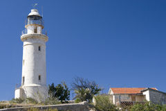 Cypriot Lighthouse. Lighthouse and dwelling on Cyprus Royalty Free Stock Photos