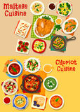 Cypriot and maltese cuisine icon set, food design Stock Images