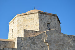 Cypriot Orthodox church steeple stone in the blue sky Stock Photography
