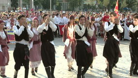 Cypriot traditional dance at the International Folklore Festival stock video footage