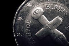 Cypriotisch euro muntstuk Bedrijfs concept Macro Royalty-vrije Stock Foto's