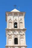Cypriotiskt kyrkliga Klocka torn mot blå himmel Royaltyfri Fotografi