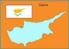 Cyprus. Vector map and flag of Europe country Cyprus Royalty Free Stock Photography