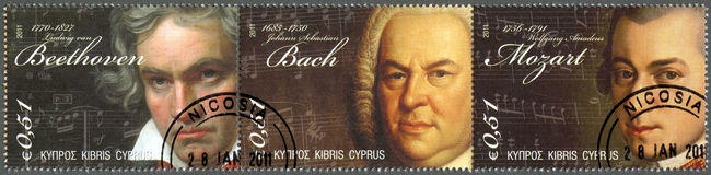CYPRUS - 2011: Ludwig van Beethoven, Johann Sebastian Bach, Wolfgang Amadeus Mozart. CYPRUS - CIRCA 2011 : A stamp printed in Cyprus shows Ludwig van Beethoven ( Stock Photo