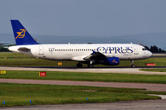 Cyprus Airways Airbus A320. Taxiing Manchester Airport stock photos