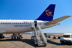 Cyprus airways plane. CRETE, GREECE - JULY 17: Cyprus airways airbus A320 landed on July 17, 2013 in Crete, Greece. Cyprus airways reported 56 mln Euro loss in stock image