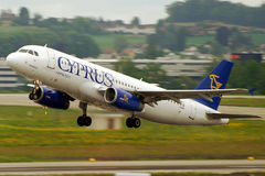 Cyprus Airways plane take off. Cyprus Airways is Cyprus' national carrier and operates routes to Europe and the Middle East. Owned by the government, company's Stock Photos