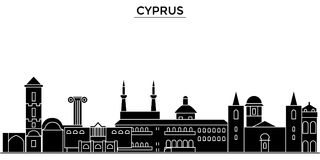 Cyprus architecture vector city skyline, travel cityscape with landmarks, buildings, isolated sights on background stock illustration