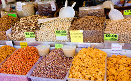 CYPRUS - AUGUST 28, 2013: Nuts and snacks in street market near mountain Olympus, Cyprus Stock Photography