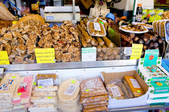 CYPRUS - AUGUST 28, 2013: Nuts and snacks in street market near mountain Olympus, Cyprus Royalty Free Stock Photo