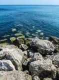 Cyprus, Ayia Napa Rotsachtige overzeese kust Stock Foto