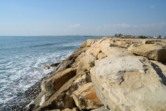 Cyprus beach in winter. Near Perivolia Royalty Free Stock Photography