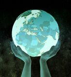 Cyprus on blue globe in hands. Cyprus on shiny blue globe in hands in space. 3D illustration stock photography