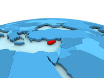 Cyprus on blue globe. Cyprus in red on simple blue political globe. 3D illustration Royalty Free Stock Image