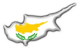 Cyprus button flag map shape Stock Photos
