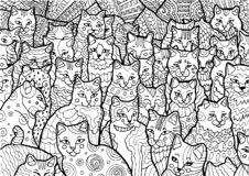 Funny Cyprus cats on doodle background stock illustration