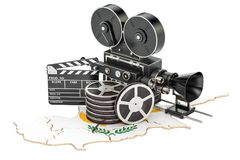 Cyprus cinematography, film industry concept. 3D rendering. On white background Stock Photos