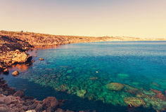 Cyprus coast. Beautiful sea shore in Cyprus Royalty Free Stock Photos