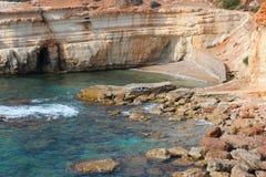 Cyprus coast. Cyprus - Mediterranean Sea coast. Sea Caves near Paphos Stock Images