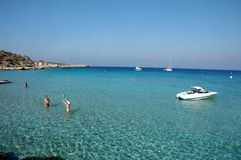 Cyprus coastline. Boats, crystal water, and very few people Royalty Free Stock Photography
