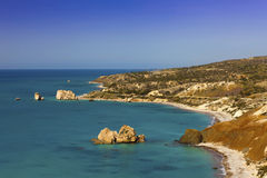 Cyprus coastline at the Petra tou Romiou. Stock Photography