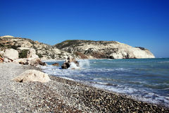 Cyprus coastline. Shoreline showing the Mediterranean sea with a blue sky and sea Stock Photo
