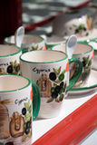 Cyprus cups. At a souvenir shop Stock Photo