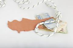 De financiële crisis van Cyprus van het concept Stock Afbeelding