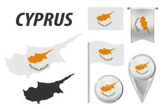 cyprus Drapeau, indicateur, bouton, ondulation et drapeau accrochant, carte d?taill?e d'ensemble et pays ? l'int?rieur de drapeau illustration libre de droits