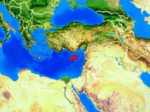 Cyprus on Earth with borders. Cyprus from space on model of planet Earth with country borders and very detailed planet surface. 3D illustration. Elements of this stock photography