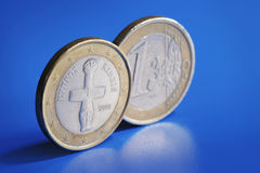 Cyprus Euro. Euro coins from Cyprus on blue background Royalty Free Stock Photography