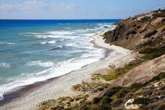 cyprus för fartygkustlinje crystal få människor mycket vatten Arkivbilder