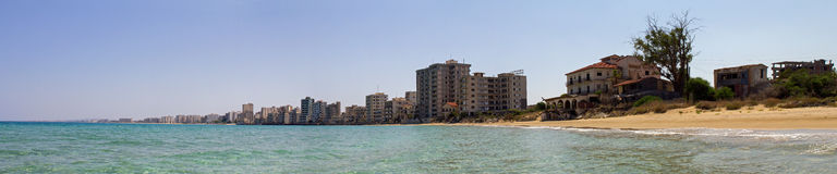 Cyprus. Famagusta. Hotels, abandoned forty years ago. The photo was taken in the city of Famagusta in Cyprus. Panorama pieced together from multiple photos Royalty Free Stock Photo