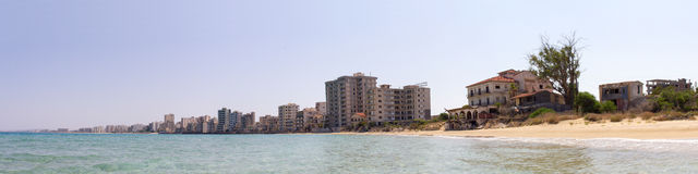 Cyprus. Famagusta. Hotels, abandoned forty years ago. The photo was taken in the city of Famagusta in Cyprus. Panorama pieced together from multiple photos Royalty Free Stock Photos