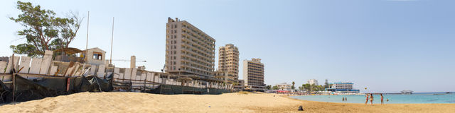 Cyprus. Famagusta. Hotels, abandoned forty years ago. The photo was taken in the city of Famagusta in Cyprus. Panorama pieced together from multiple photos Stock Image