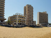 Cyprus. Famagusta. Hotels, abandoned forty years ago. Royalty Free Stock Images