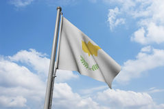 Cyprus Flag with Clouds Royalty Free Stock Photo