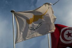 Cyprus flag. Cyprus  flag flying in Barcelona Stock Images