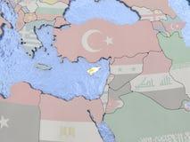 Cyprus with flag on globe Stock Photos