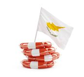 Cyprus flag in rescue circle, lifebuoy, life buoy Stock Images