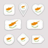 Cyprus, flag vector set. Cypriot flags stickers collection. Isolated geometric icons. National symbols badges. Web, sport page, pa royalty free illustration