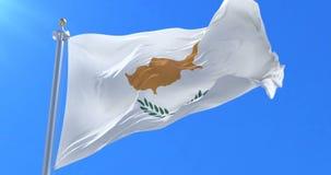 Cyprus flag waving at wind with blue sky, loop. Ed stock footage
